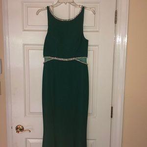 Green beaded prom dress